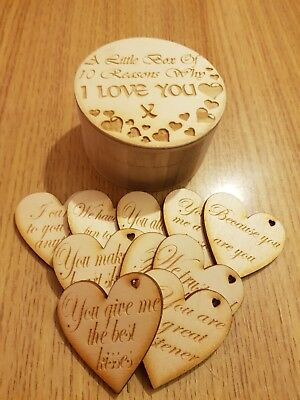 10 Reasons Why I Love You - Personalised Valentines Gift - Romantic Wooden Heart • 12£