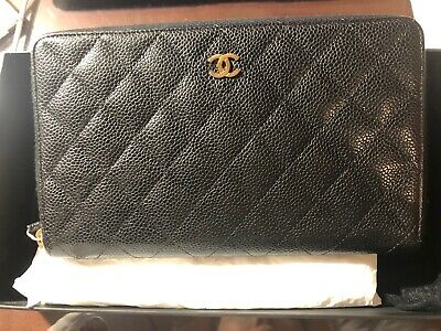 2bfb300d985d AUTHENTIC Chanel Zip Around Wallet Black Caviar Leather With Gold Hardware  • 899.99$
