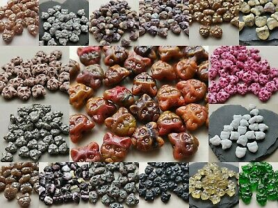 Czech Glass Cat Kitty Head Animal Beads 13 Mm Pack Of 10 Different Colours • 2.60£