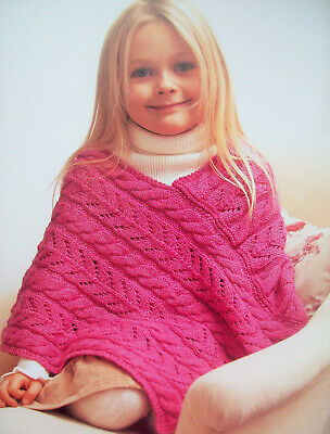 £1.99 • Buy Girls CABLE & LACE PONCHO KNITTING PATTERN Baby Merino DK 3 - 7 Yrs 24 - 28 Inch