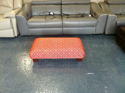 Ex Display Red And Cream Patterned Fabric Rectangular Bench Footstool  • 80£