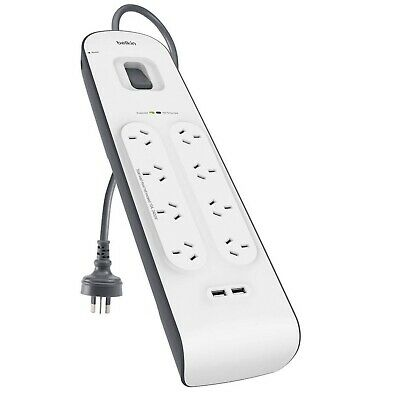 AU66 • Buy Belkin 8 Way Outlet Surge Protector Power Board With USB Charging IPhone Samsung