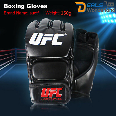 AU25.95 • Buy UFC MMA Black Fighting Boxing Sports Leather Gloves Tiger Muay Thai Fight