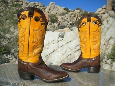 56b9d814f8bc2 Stetson Tall Buckaroo Size 10 1 2D Yellow And Brown Leather Cowboy Boots •  95.00