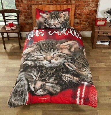 Rapport  Cuddle Cats  Let's Cuddle Easy Care Duvet Cover Bedding Set Red / Multi • 16.99£