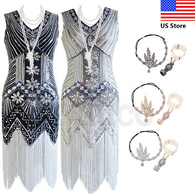 $21.04 • Buy 1920s Vintage Costume Flapper Gatsby Wedding Party Layered Tassel Cocktail Dress