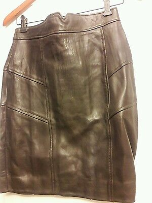 $ CDN42.23 • Buy New Chocolate Brown Danier Leather Skirt Size 6-8  - SOFT LEATHER