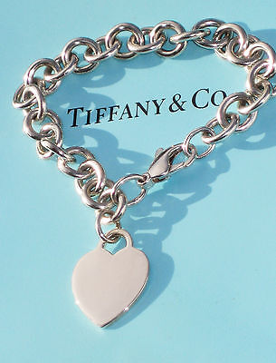 Tiffany & Co Sterling Silver Sold Chain Bracelet Plain Heart Tag Charm £405 • 199.99£