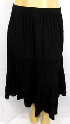 fb106f396fa Oso Casuals Black Crinkle Crochet Trim Women s Plus Size Peasant Maxi Skirt  XL • 3.25