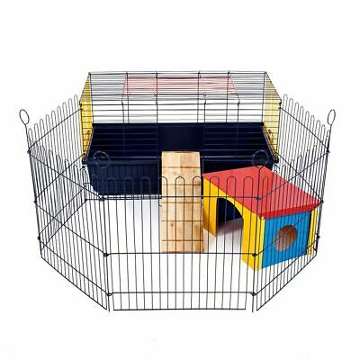 Indoor Rabbit Cage With Run 80 CM - Small Pet Guinea Pig Single Tier - Brand New • 64.11£