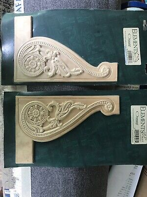 $10 • Buy ELEMENTS Wood Carved Ornamental Mouldings Stair Decor Applique Left/Right Set