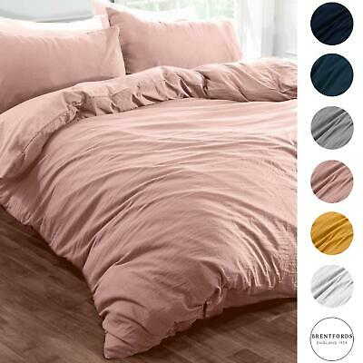 £14.99 • Buy Brentfords Washed Linen Look Duvet Cover With Pillowcase Bedding Set Grey Blush