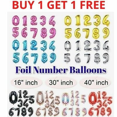 32  40  Large Foil Number Balloons Air Birthday Age Party Wedding Decor Baloons • 2.99£