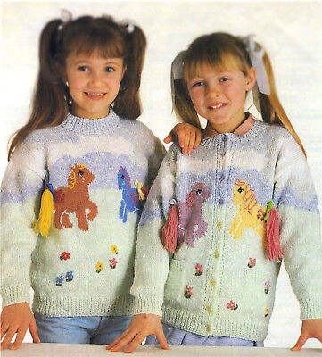 Knitting Pattern MY LITTLE PONY Girls Sweater Cardigan DK Xmas FREE POST /46 • 2.99£