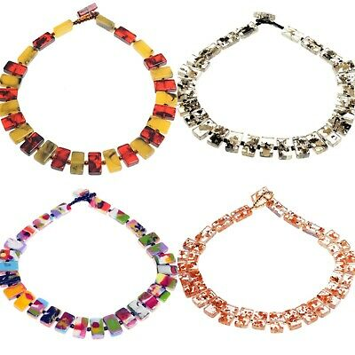 Jackie Brazil Original Resin 48cm Linked Rectangle Beads  Romeo'' Necklace • 37.99£