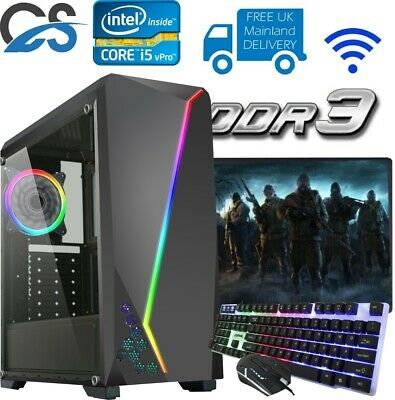 Fast Gaming PC Computer Bundle Intel Quad Core I5 8GB 1TB Windows 10 2GB GT710  • 249.99£