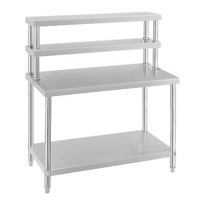 Stainless Steel Catering Kitchen Work Table Bench With Extra 2 Tier Top Shelf • 285£
