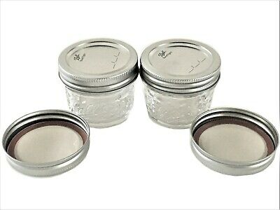 $3.85 • Buy Ball Mason Jar Jelly Jars 4 Oz. Quilted Crystal Reg Mouth-Lot Of 2 W /Extra Lids