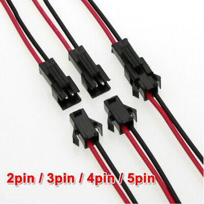 2pin 3pin 4pin 5pin Male And Female 22AWG JST SM Connector Plug Led Strip Light • 5.69$
