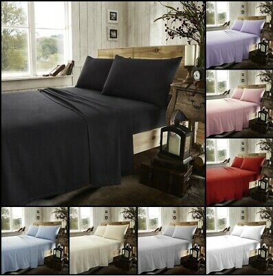 100% Brushed Cotton Thermal Flannelette Fitted Or Flat Bed Sheets Or Pillow Case • 8.99£