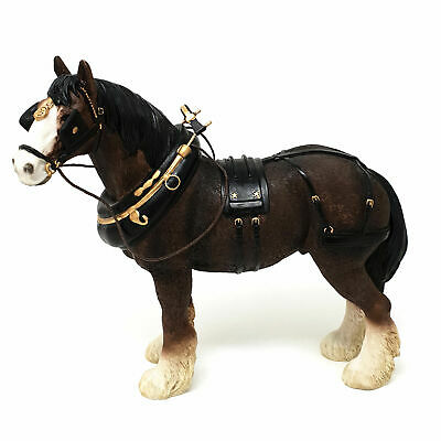 Countryside 23cm Brown Shire Horse Statue With Harness Ornament And Figurine • 29.95£