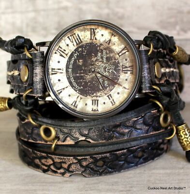 $ CDN237.60 • Buy Vintage Looking Watch With Snake Striped Leather Watch Band