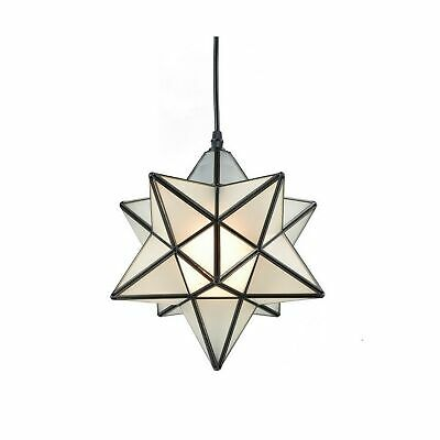 YOBO Lighting Star 1 Light Frosted Glass Pendant Kitchen Chandelier 12-inch • 107.02$