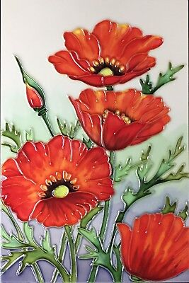 £21.99 • Buy 8x12 Inch RED POPPIES Ceramic Wall Art Plaque / Art Ceramic Tile Picture
