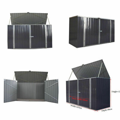 Large Galvanized Steel Garden Bike Shed Tool Outdoor Storage Shed Unit 225cm • 209.99£