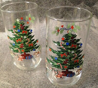 $6.99 • Buy Tienshan Holiday Hostess 12 Oz Glasses Tumblers Christmas Tree Set Of 2 Nice