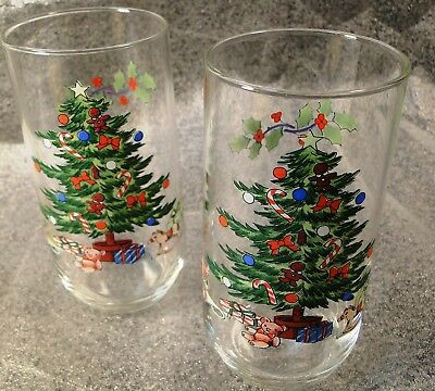 $6.99 • Buy Tienshan Holiday Hostess 14 Oz Glasses Tumblers Christmas Tree Set 2 Excellent