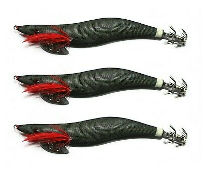 AU9.90 • Buy 3 X Fishing High Quality Squid Jig In Various Sizes Black Tackle Lure Special