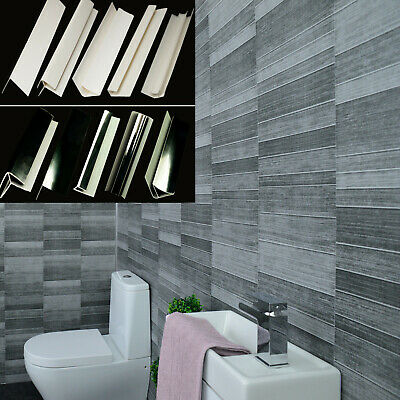 Grey Bathroom Small Tile Anthracite Wall 5mm Panels Shower Cladding Trims PVC • 14.96£