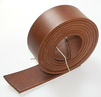 Italian Leather Belt Blanks Mid Brown 3.5mm Thick Veg Tan 58 Inch - 145cm Long • 9.49£
