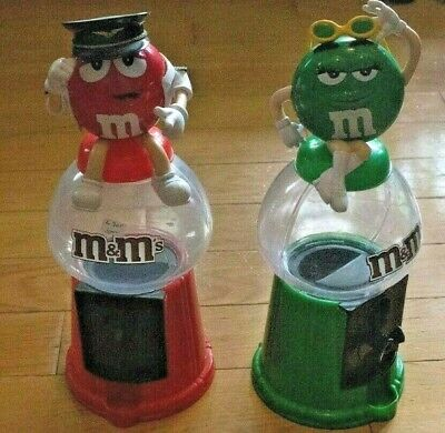 $36.33 • Buy M&M Collectible Candy Dispensers Lot (Rare Red Pilot And Green Lady Toppers)