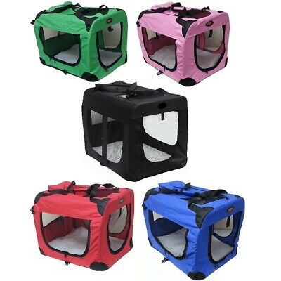 PGO Fabric Dog Crate Puppy Carrier Cat Travel Cage - Carry Pet Bag - Lightweight • 20.75£