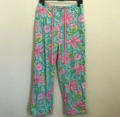 db38e332d7 Lilly Pulitzer Pajama Pants Sz S Floral Pull On Drawstring Pink Button Fly  • 29.99$