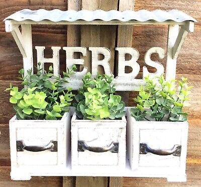 Vintage Style Wooden Wall Herb Planter Window Box Basket Garden Pots Shabby Chic • 21.50£