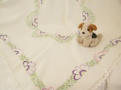 1930s Lace Edged Hand Embroidered Floral Linen Tablecloth Anemone Flowers   • 15£