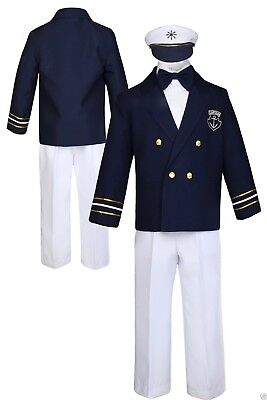 b6048a806 Boys BabyToddler TEEN BAPTISM Captain Navy Sailor Suit Outfit White Pants  (S-10)