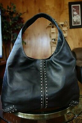 6fec9a866ded4c Large Michael Kors Astor Studded Black Leather Hobo Bag • 3.00$