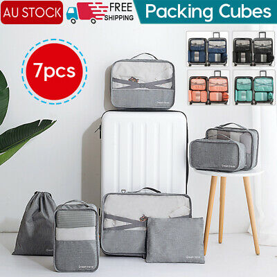 AU19.94 • Buy 1-7x Packing Cubes Travel Pouches Luggage Organiser Clothes Suitcase Storage Bag