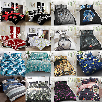 3D Kids Animal Duvet Sets Quilt Bedding Set Single Double King Duvet Covers • 11.99£