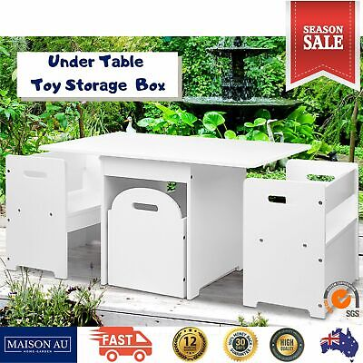 AU101.44 • Buy Kids Table And 2 Chair Set Study Desk Dining Wooden Storage Box Toddler Children