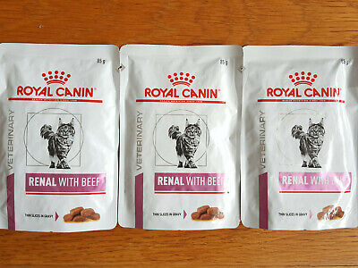 Joblot 3 X Royal Canin Renal Feline Wet Cat Food 85g Pouches - Beef  - FREE POST • 4.99£