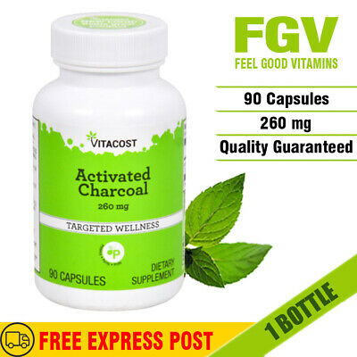 AU29.01 • Buy Vitacost Activated Charcoal 260mg Capsules TARGETED WELLNESS - TEETH WHITENING