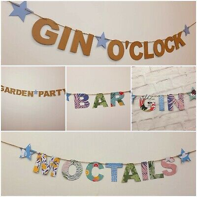 £5.49 • Buy Summer Garden Party BBQ Gin Pimms O'clock Wedding Banner Bunting Decorations