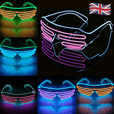 LED EL Wire Glasses Light Up Glow Sunglasses Eyewear Shades For Nightclub Party • 4.99£
