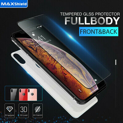 AU9.99 • Buy MAXSHIELD IPhone X Xs XR Xs Max 7 8 Front+Back Tempered Glass Screen Protector