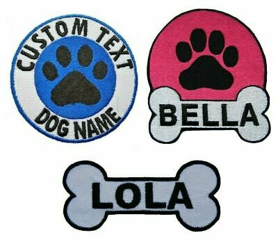 Personalised Dog Name Embroidered Patches Iron On Pet Badge Dog Harness Patch • 3.10£
